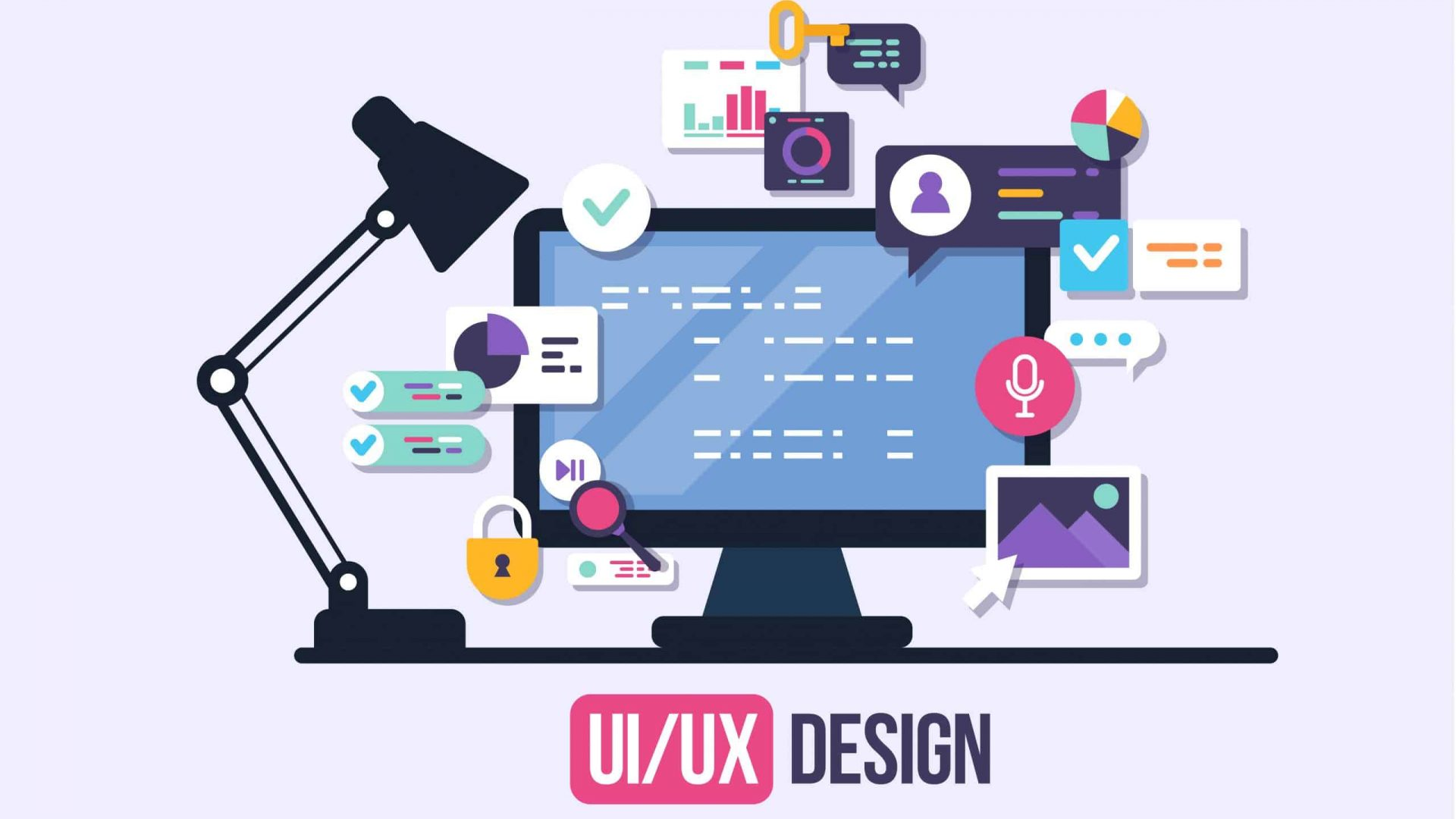 User Interface Design, Application development and UI, UX design. Creative vector illustration.