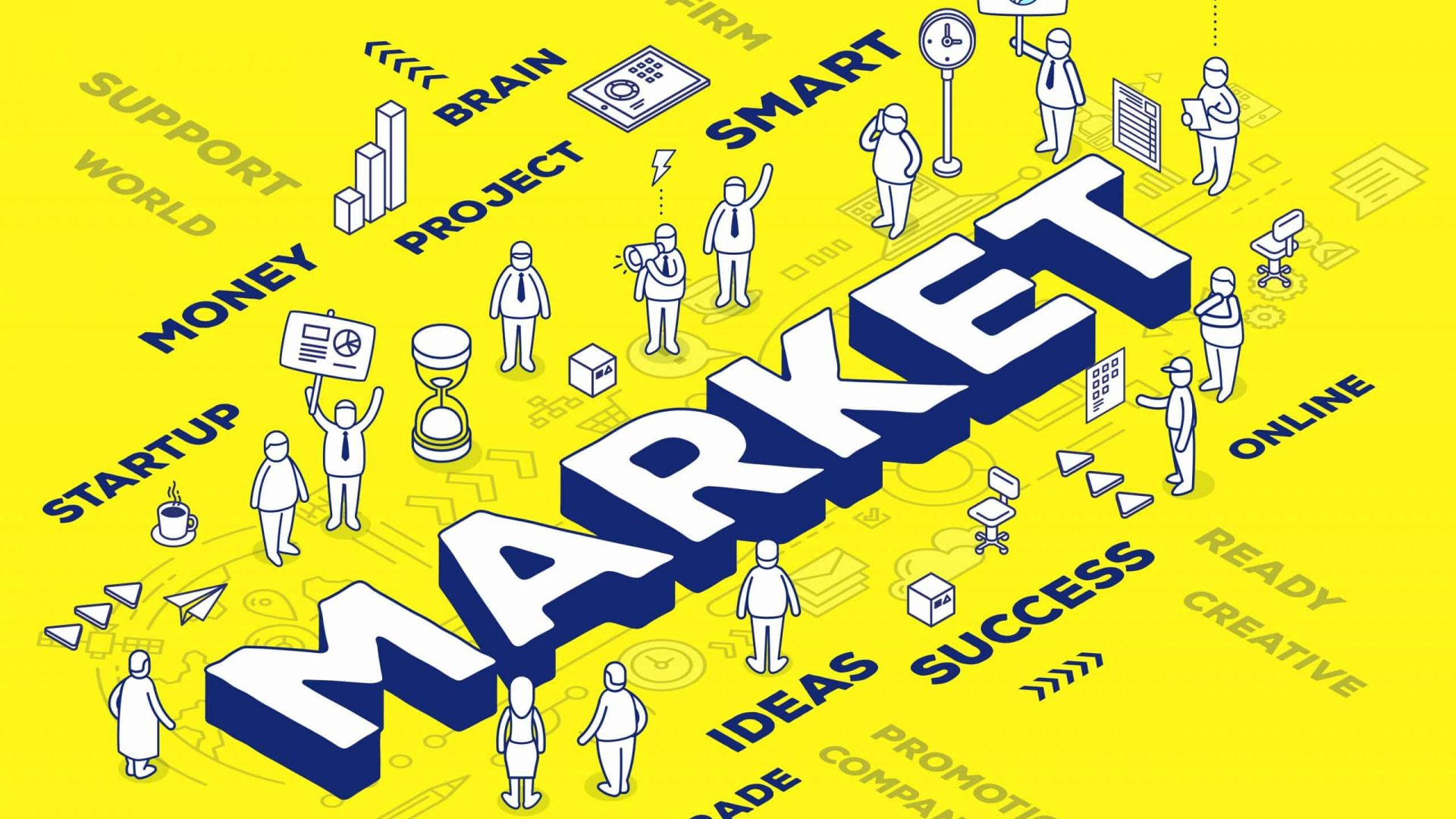 Vector illustration of three dimensional word market with people and tags on yellow background with scheme. Market technology concept. 3d thin line art style design for web, site, banner